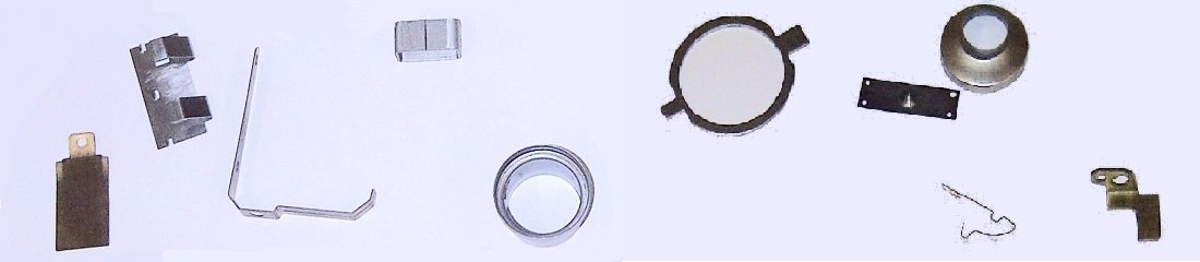 Small pressed electrical contact parts